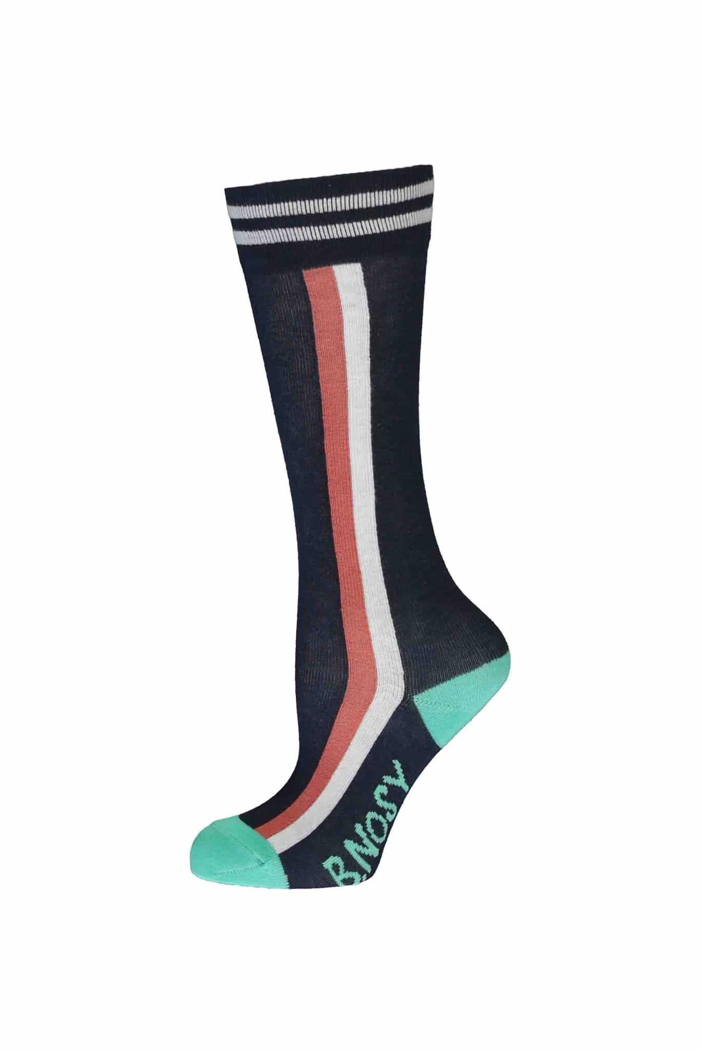 B Nosy Socks Vert Stripes